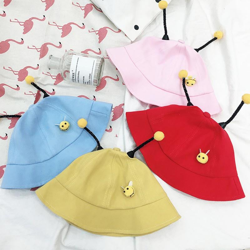 Baby Boys Girls Cartoon Bucket Hats Caps Kids Cute Reversibl