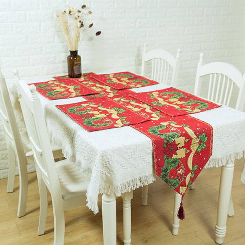 Christmas Table Runner Placemat Set Xmas Holiday Party Dinin