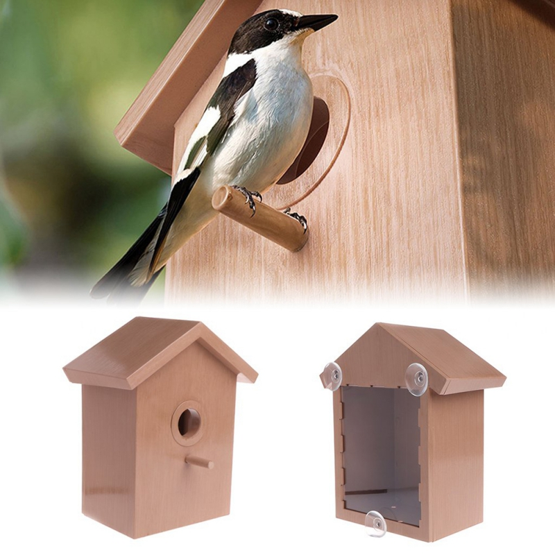Window Mount Bird Nest Nesting View Box Wooden Finch Wren Bi