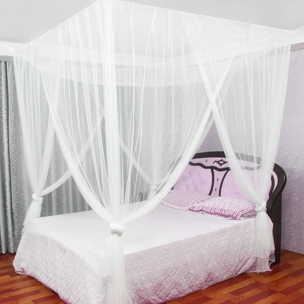 - 4 Corner Post Bed Canopy Mosquito Net Full Queen King Size Bedroom